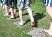 Barefoot walk in Latvia